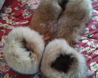 Vtg Beige Real Fox Fur Collar and Cuffs