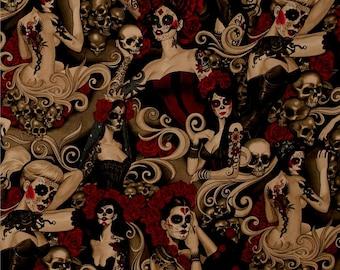 Las Elegantes Dark Smoke Nicole's Prints By Alexander Henry Fabrics, Dia de los Muertos