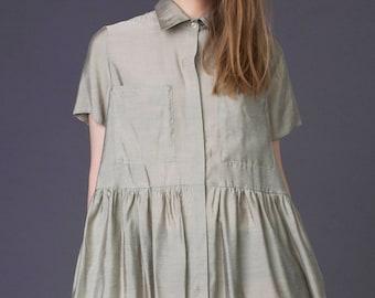 Summer shirt dress / Beige summer dress / Beige shirt dress / Drop waist dress / Designer dress