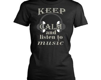 Listening to music womens fit T-Shirt. Funny Listening to music shirt.