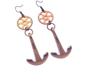 Earrings steampunk Golden gear and brass anchor