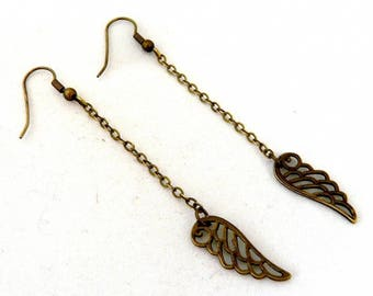 Earrings small dangle bronze wings