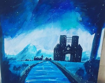 Original acrylic painting of snow