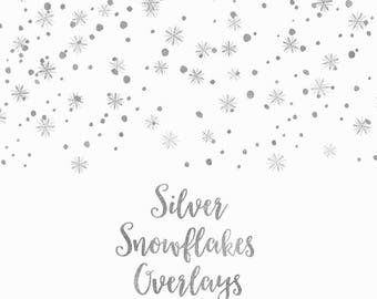 BUY 3 FOR 8 USD, Silver snowflakes overlays, digital confetti, silver glitter borders, falling snowflakes, christmas clip art, download,