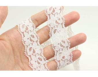 2 yards 2.5cm stretchy lace, elastic white lace, floral lace, headband accessories