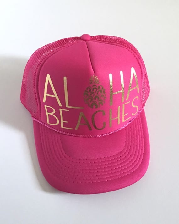 Aloha Beaches Hat| Aloha Trucker Hat| Aloha Hat| Trucker Hat| Hawaii Hat| Pineapple Hat| Pineapple| Beach Hat| Pink Hat