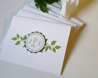 Note cards/Monogram/ green or purple leaves note card,s set of six