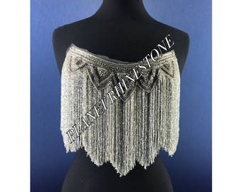 beaded french neckline clear