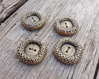 Vintage french buttons, metal buttons, jacket buttons, boutons d'orés, gold colour buttons,4 piece set buttons