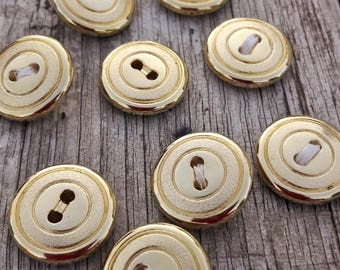 Vintage french buttons, metal buttons, coat buttons, gold buttons, round buttons, boutons or,  blazer buttons, 9 pce set buttons