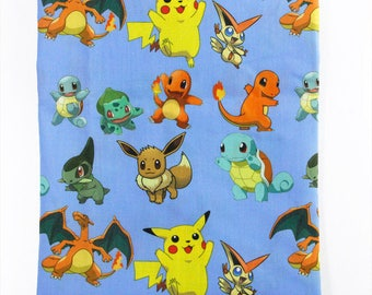 """Printed fabric theme """"Pikachu / Pokemon"""""""