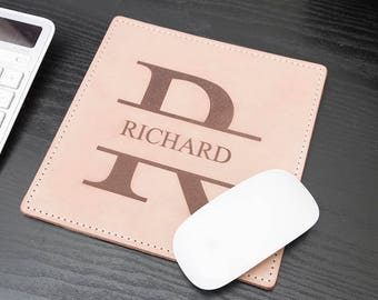 Laser Engraved Natural Full Grain Leather Mouse Pad