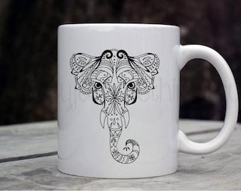 Elephant Coffee Mug, Elephant Mug, Spirit Animal Mug, Strength Coffee Mug, Inspirational Gift, Animal Print Mug, Zentangle Mug, Coffee Gifts