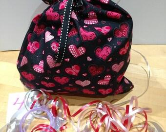 "BagItAgain 10""x13"" Valentine's Cotton Cloth Bag. Reuse Recycle Regift"