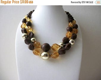 ON SALE Vintage Brown Golds Molded Faceted Plastic Beads Shorter Length 1950s Necklace 8116