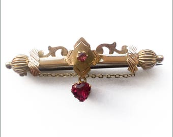 Victorian Pink Stone Bar Brooch