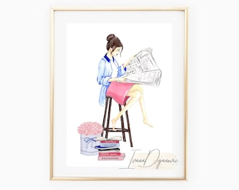 Fashion illustration print Pink suit Fashion sketch print Fashion poster Fashion illustration print wall art home decor