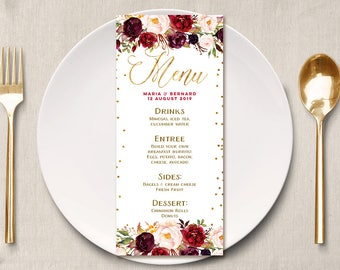 Burgundy Masala Wedding Menu, Floral Wedding Menu, Marsala Burgundy Reception Menu, Burgundy Floral DIY Wedding menu, marsala wedding card