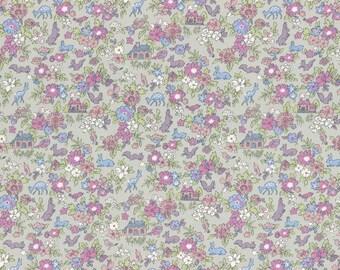1/2 yard Lecien Japan Memoire A Paris 2017 | Cotton Lawn | Woodland Forest Friends | # 40742-90 Grey/Purple