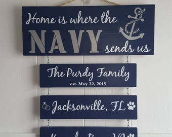 Home is where the Navy sends.., Navy Sign,  Patriotic Wall Décor, Navy Retirement Gift, Duty Station Sign, Legacy sign, Proud Navy Family