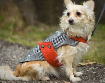 SM Tailored winter dog coat // Hand-tailored classic jacket for a small dog in black and ivory houndstooth plaid