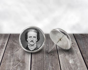 Edgar Allan Poe, 12mm Stud Earrings, Steampunk Jewelry, Literary Jewelry Quoth the Raven, Nevermore, Gothic Earrings