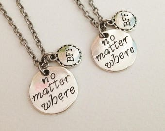 set 2 no matter where necklace - bff necklace - friendship necklace - girlfriend necklace - birthday gift