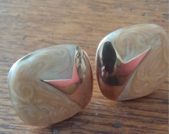Marbled Monet Clip Earrings with Gold Trim