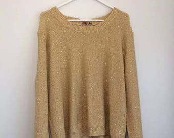 A.N.A sequin gold sweater