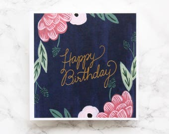 Gold Foil Happy Birthday Card - Handpainted Birthday Card - Luxury Birthday Cards - Floral Birthday Card