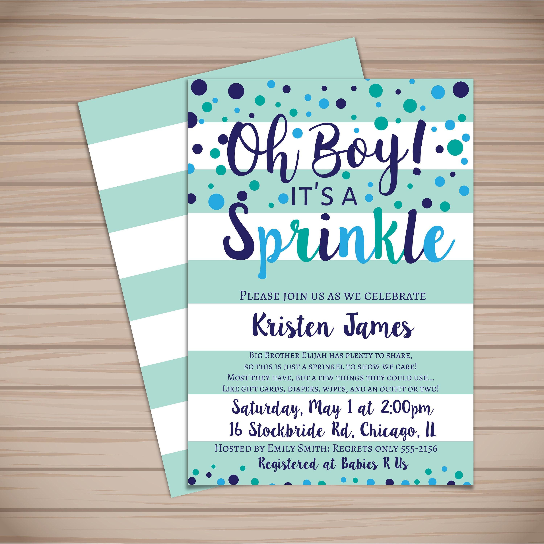 Oh boy it s a sprinkle Sprinkle baby shower invitation