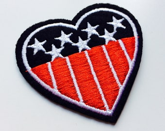 Heart | USA | American Flag | America | Patch | Cute | Hipster | Trendy | Emo | DIY | Fashion | Retro