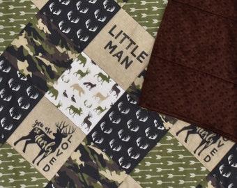 Camouflage Woodland quilt, woodland nursery, bear, moose, deer, antlers, arrows, camo, baby boy, throw blanket
