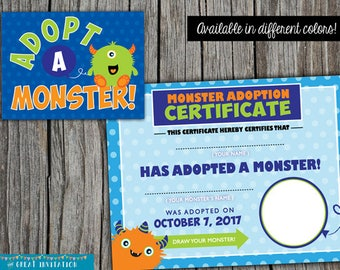 Monster Party Game/ Monster Certificate/ Monster Birthday Party/ Monster Adoption Sign Party Printables/ Monster Party Games