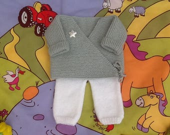Jacket and pants knit baby layette set
