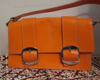 Vintage Via Spiga Bright Orange Patent Leather Handbag. A Great Purse for the Season Upon Us!