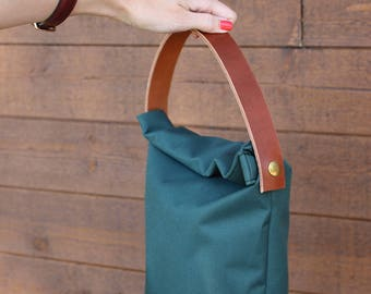 Sac à lunch, lunch bag minimalist, sac à repas, sac gris cuir, canevas sac lunch, canevas lunch bag, lunch box leather, minimalist lunch bag