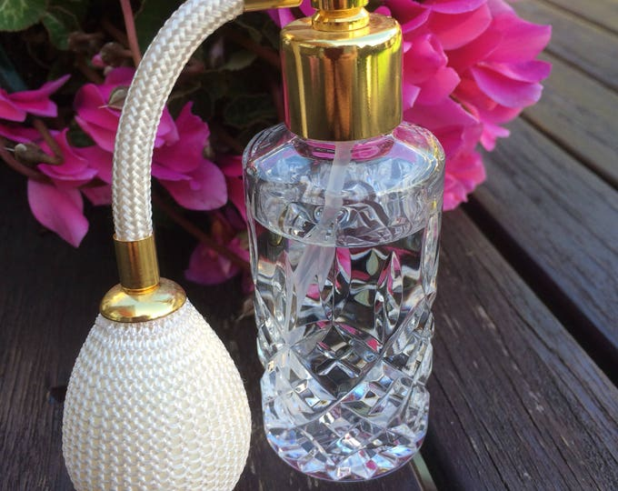 "LOW SHIPPING Perfume Atomiser, Clear Cut Crystal, Glass Perfume Atomizer, Scent Atomizer, Ivory Satin, Immaculate Condition, 3.75"" x 1.25"