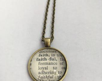 FAITHFUL Vintage Dictionary Word Pendant