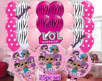 NEW 25pc  Shiny PINK BLUe LOL Surprise Doll Birthday Balloons girls Party Foil