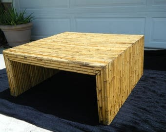 Vintage Mid Century Modern Bamboo Square Coffee Table