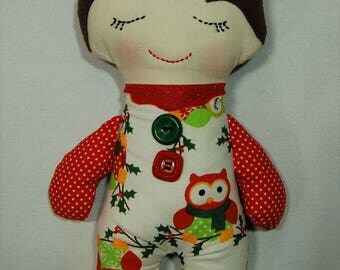 Handmade doll, cloth doll, Darling Button Down Doll, Christmas doll, Christmas decoration
