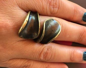 Metal ring,  Oxidized ring, Brass ring, Adjustable ring