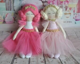 Ready to ship, personalized baby gifts, rag doll,princess,fabric doll,tilda doll,nursery decor, poupée ballerine, cloth doll, bambole stoffa