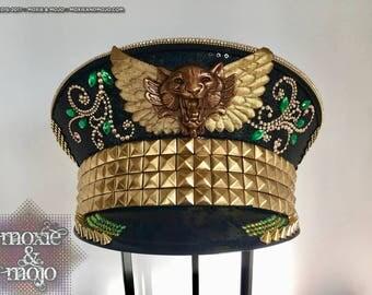 Burning Man Hat, Captain Hat, Tigress, Pilot hat, burning man headpiece, Military Hat, Burning Man, Festival Hat, Burner Hat