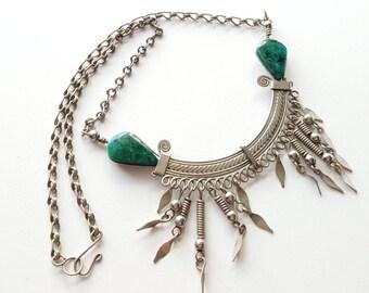 Vintage Bib Necklace (Silver)
