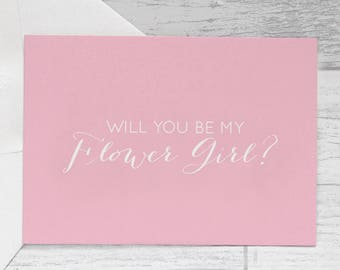 Flower Girl Card - Pink Will You Be My Flower Girl Card