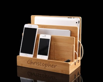 bamboo charging station,nightstand with charging station,wooden charging station,iphone charging station,multi charging station,husband gift