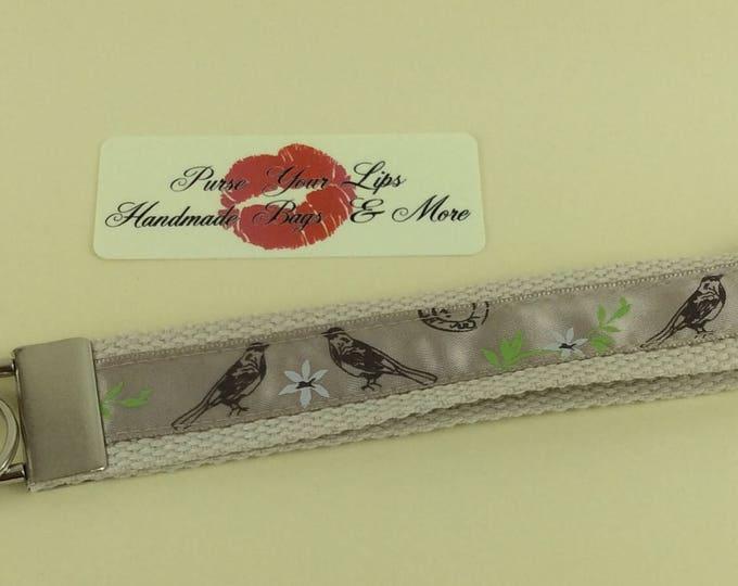 Birds webbing key fob wristlet key ring lanyard wedding favour handmade in England