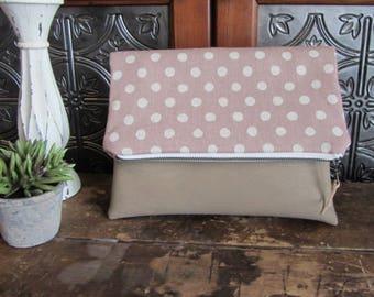 Large Fold Over Clutch Bag - Rose Dots with Tan Vegan Leather Bottom, Foldover Zipper Clutch, Rose Pink Dots Clutch Bag